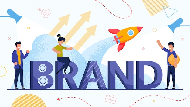 Businesspeople and brand startup launch