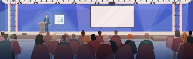 Businesspeople at business meeting with businessman talking from tribune modern conference hall with board and flip chart boardroom interior horizontal flat