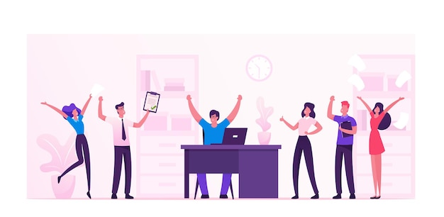 Businesspeople celebrate project development and reach target in office. cartoon flat illustration