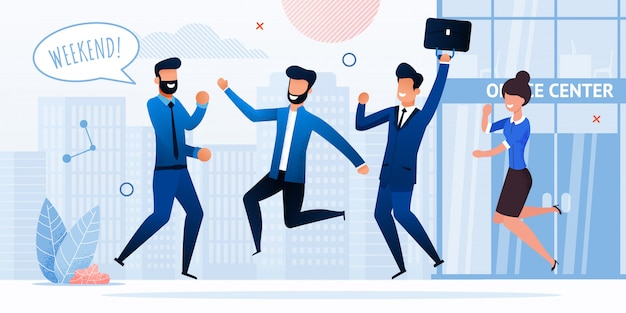 Businesspeople celebrating weekend flat vector
