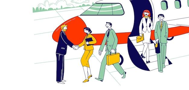 地上で会う人と手を振って飛行機を離れるビジネスマンのキャラクター。