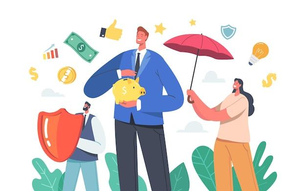 사업가 캐릭터는 돼지 저금통과 방패가 있는 우산 아래 서서 돈을 보호합니다. 재정 보호, 보험, 사업가는 자본을 모으고 보호합니다. 만화 사람들 벡터 일러스트 레이 션