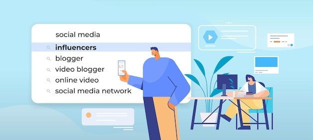 Бизнесмены, выбирающие влиятельных лиц в панели поиска на виртуальном экране, концепция интернет-сети, горизонтальная портретная иллюстрация