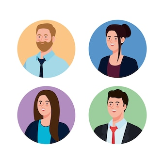 Businesspeople in circles design, man woman business management corporate job occupation and worker theme