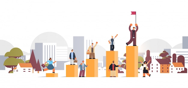 Businesspeople climbing financial bar graph businessman with flag on top of career ladder win success concept cityscape background full length flat horizontal