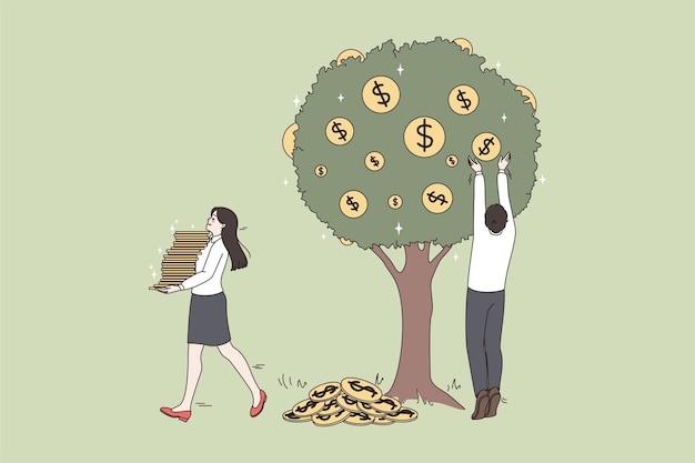 Бизнесмены собирают денежные монеты с дерева и получают дивиденды