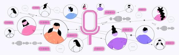 음성 메시지로 의사 소통하는 기업인 오디오 채팅 응용 프로그램 소셜 미디어 온라인