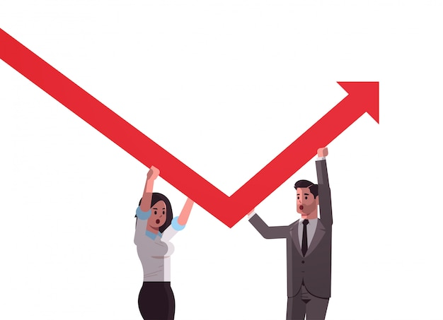 Businesspeople couple rising up red growing arrow teamwork financial growth concept business people correcting direction of arrow horizontal portrait