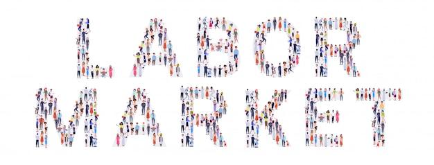기업인 군중 노동 시장의 형태로 모임 단어 믹스 경주 남자 여자 캐주얼 사람들 그룹 서 함께 소셜 미디어 커뮤니티 개념 전체 길이 가로