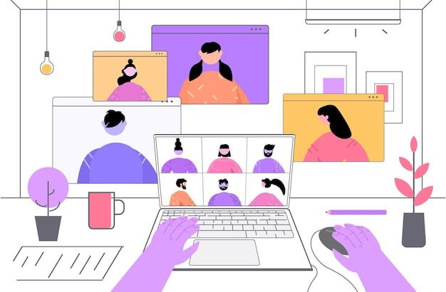 화상 통화 가상 회의 온라인 통신 자체 격리 중에 논의하는 기업인