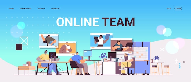 Businesspeople discussing with colleagues in web browser windows during video call virtual conference online team