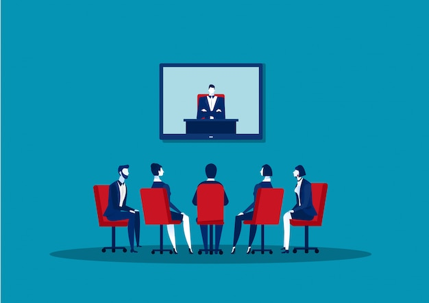 Businesspeople doing video conferencing colleagues having online business meeting