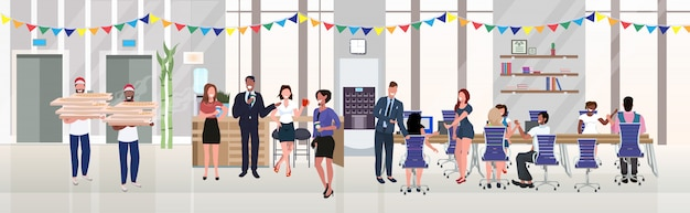 Businesspeople employees eating pizza drinking coffee having fun at lunch break corporate christmas birthday celebration concept modern office interior flat horizontal full length