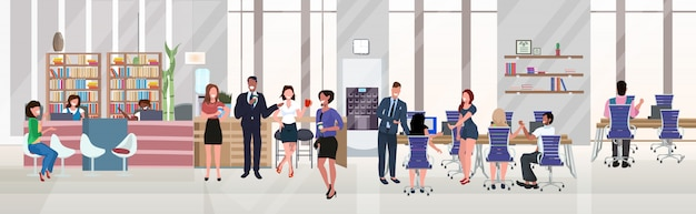 Businesspeople employees successful teamwork concept hardworking process open space creative co-working center modern workspace office interior flat horizontal full length