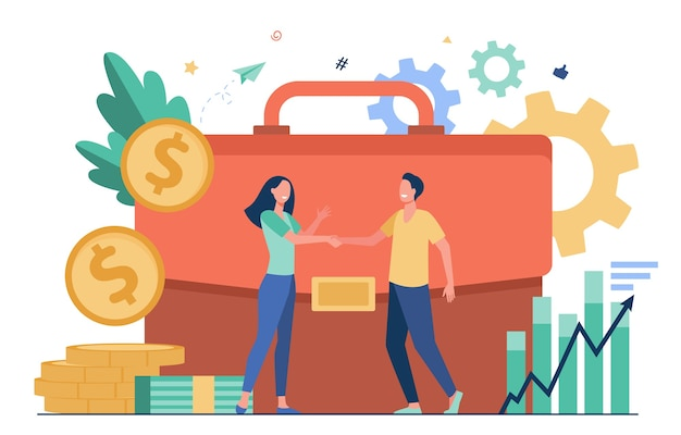 Businesspeople financing or investing money and handshaking flat vector illustration. cartoon investors taking credit for investments. partnership, money transaction and business challenge concept