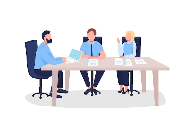 Квартира бизнесменов. мужчины и женщины на профессиональном обучении по маркетингу.