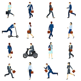 Businesspeople going to work flat icons  set