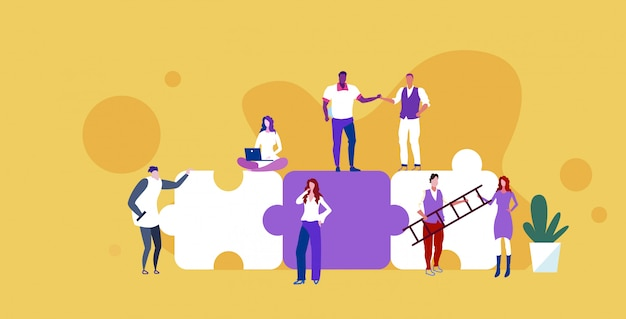 Businesspeople group standing on puzzle pieces mix race business people successful teamwork problem solution concept  vector illustration