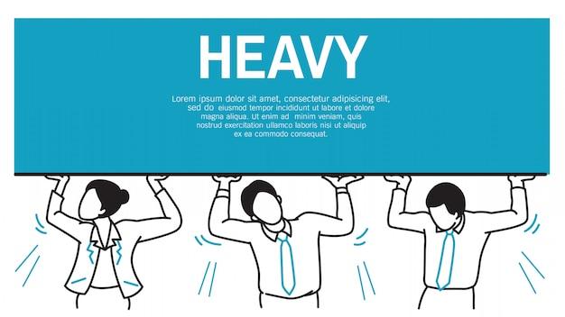 Businesspeople hard to carry heavy burden