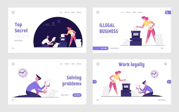 불법 비즈니스 활동을 숨기는 기업인 비밀 문서 파괴 웹 사이트 랜딩 페이지