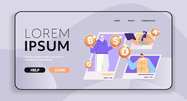 Businesspeople holding golden crypto coins cryptocurrency mining virtual money digital currency blockchain