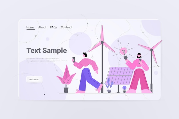 Бизнесмены с лампой ветряные турбины солнечные панели альтернативные возобновляемые источники зеленая энергия экология охрана окружающей среды