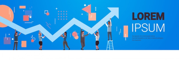 Businesspeople holding upward financial arrow up teamwork successful business development growth concept mix race employees correcting direction of graphic horizontal full length