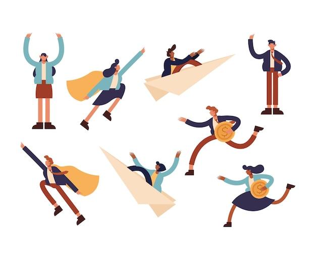 기업인 아이콘 세트 디자인, 사업 관리 및 기업 테마 그림