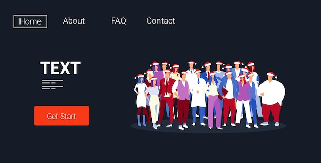 기업 파티를 축하하는 산타 모자 기업인 비즈니스 사람들이 함께 서있는 팀 메리 크리스마스 새해 복 많이 받으세요 겨울 휴가