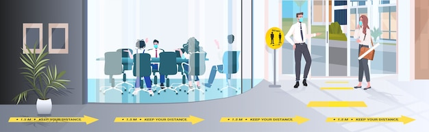 コロナウイルスの流行を防ぐために距離を保つビジネスマン19保護措置
