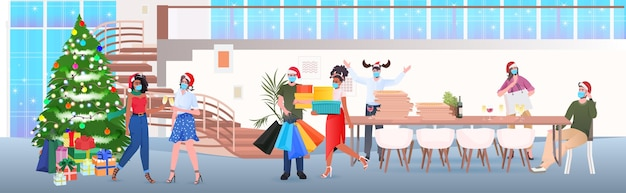 Businesspeople in masks drinking champagne mix race colleagues in santa hats celebrating new year corporate party modern office interior horizontal full length vector illustration