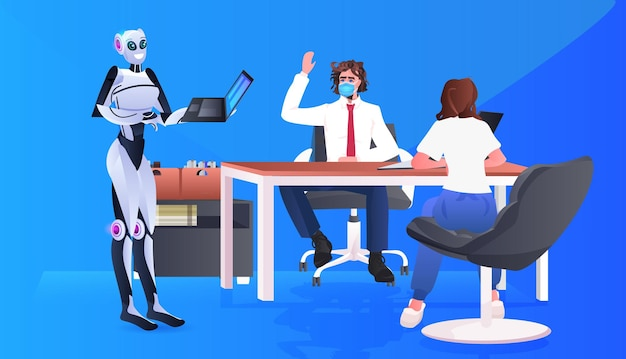 Businesspeople in masks and robot working together in artificial intelligence teamwork concept
