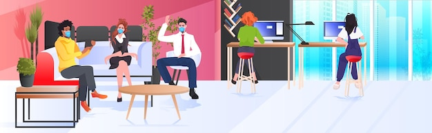 Businesspeople in masks working and talking together in coworking center coronavirus pandemic teamwork concept modern office interior horizontal full length
