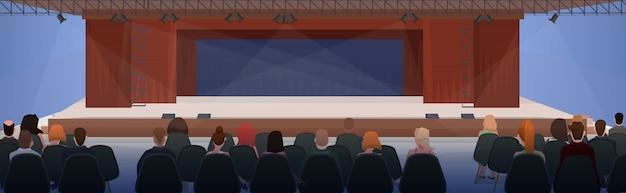 ビジネスプレゼンテーションモダンな会議ホールインテリア水平フラットで会議の実業家