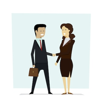 Businesspeople men and women shaking hands partners .