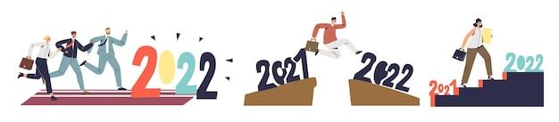 비즈니스 성공을 위한 전략 및 계획 개발을 위한 2022년 기회를 위해 움직이는 기업인. 성장의 장애물을 극복하는 사업가들. 평면 벡터 일러스트 레이 션