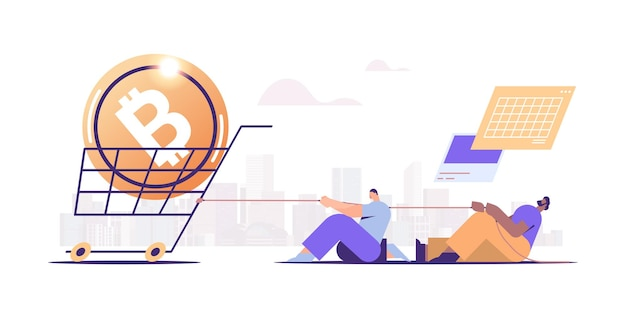 Businesspeople pulling trolley cart with bitcoin coin on rope cryptocurrency mining virtual money digital currency concept full length horizontal vector illustration