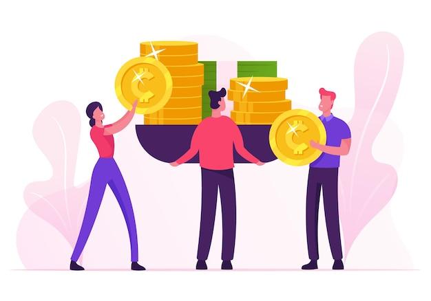 Бизнесмены ставят огромные весы золотые монеты и банкноты с деньгами. мультфильм плоский рисунок