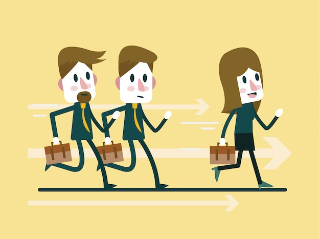 Businesspeople race on track. leadership and compettition concept. flat character design. vector illustration