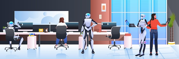 Businesspeople and robots working together in creative open space artificial intelligence teamwork concept