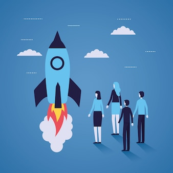 Businesspeople rocket launching startup