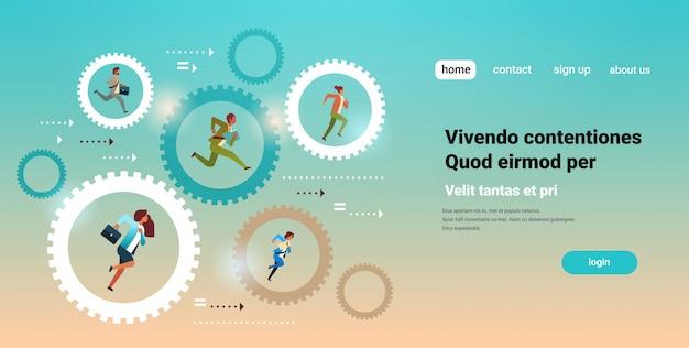 Businesspeople running in cog wheel hardworking process