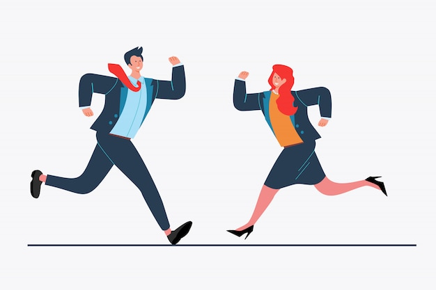 Businesspeople running to each other