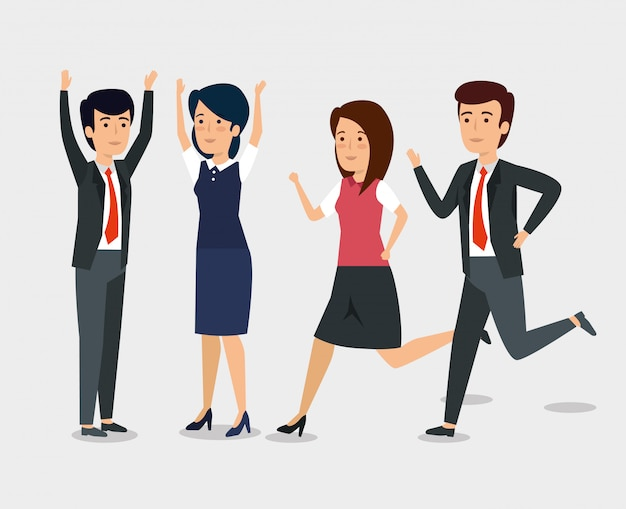 Businesspeople running and with their hands up