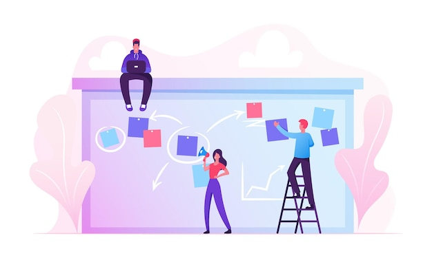 Businesspeople scheduling work on agenda schedule task board with sticky notes standing on ladder. cartoon flat illustration