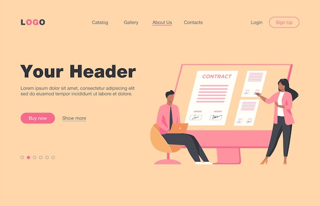 Businesspeople signing contract online. partners affixing signatures to document on monitor flat  landing page. internet, global business concept for banner, website design or landing web page