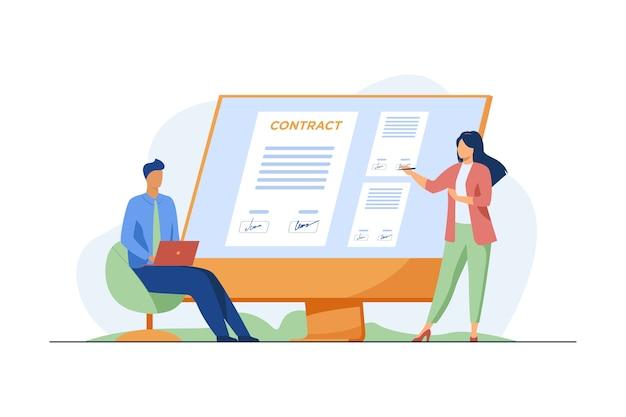 Бизнесмены подписывают контракт онлайн. партнеры ставят подписи к документу на плоской векторной иллюстрации монитора. интернет, глобальный бизнес