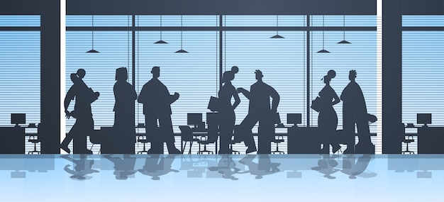 Businesspeople silhouettes working in office business people group discussing during meeting teamwork concept  full length  illustration