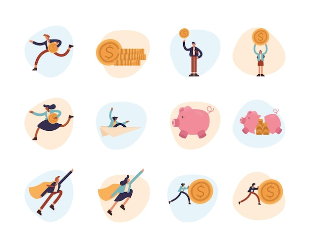 Businesspeople symbol set design, business management and corporate theme  illustration