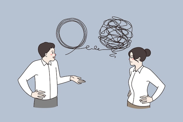 Businesspeople talk solve complex business problem together